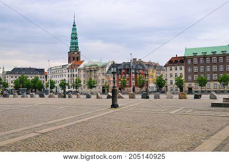 Scenic summer sunset in the Old Town of Copenhagen