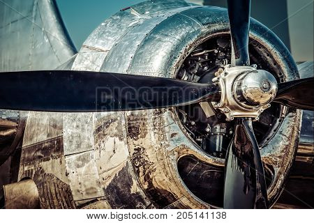 The front view of the propellor of a World War Two era bomber.