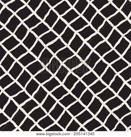 Seamless pattern with hand drawn brush strokes. Ink doodle grunge illustration. Geometric monochrome vector pattern.