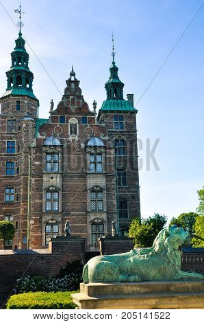 Rosenborg Castle in Copenhagen, Denmark. Built in the Dutch Renaissance style in 1606 during the reign of Christian IV. The castle was used by Danish regents as a royal residence until around 1710.