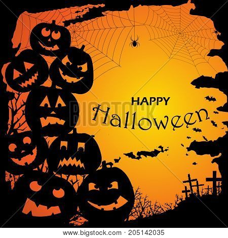 Halloween party invitation with scary pumpkins . Funny and evil pumpkins for halloween design. Vector