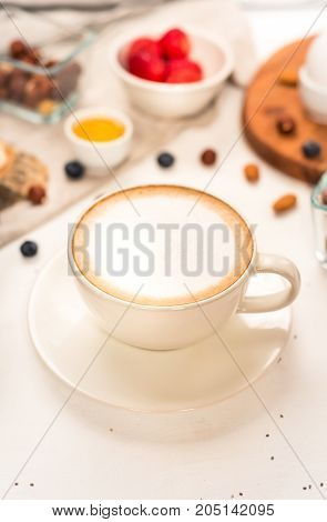Cappuccino on white background. Good morning - healthy breakfast background