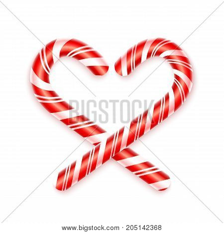 3d candy canes isolated on white background. Traditional Christmas candy. Caramel Heart. Glossy realistic candy canes. Xmas Decoration. Vector illustration