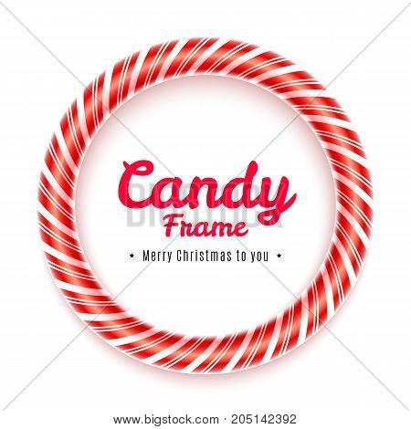 Realistic circle Candy frame isolated on white background. Christmas caramel frame with red striped texture. Sweet decoration for Christmas card. Blank lollypop frame design. Vector illustration