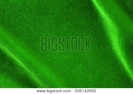 Green Silk Velvet Close Up With Copy Space