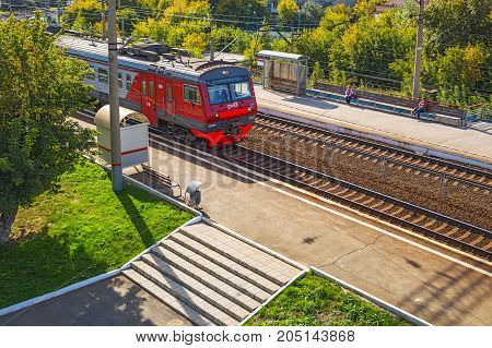 The city of Novosibirsk Siberia Russia - September 17 2017: the train arrives at the station