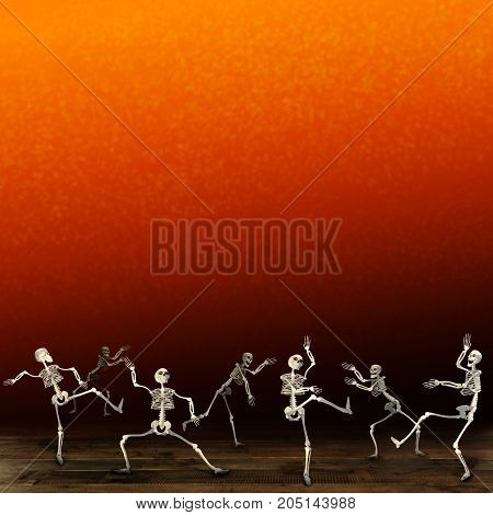Halloween skeletons. Orange background. Monsters dancing at a party.