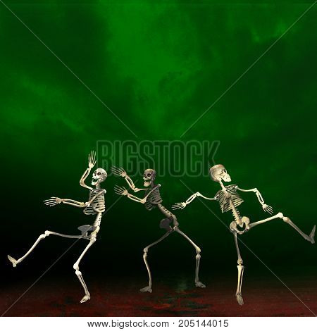 Halloween skeletons. Green background. Creepy dancing at a party.