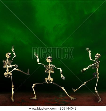 Halloween skeletons. Scary and dancing. Green background.