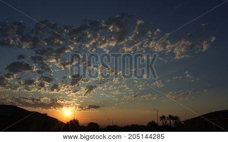 Desert sky at sunset. Nevada. Background. Dusk.