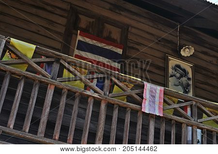 Pai, Thailand - October 19, 2016: Picture Of His Majesty The King Of Thailand On The Wall House In P