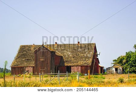 Old Wooden Barn With See Through Roof