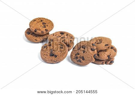 Pile Chocolate Chip Cookies On Isolated White Background