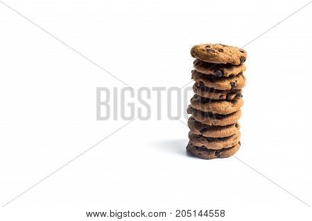 Chocolate Chip Cookies Stacked On Isolated White Background