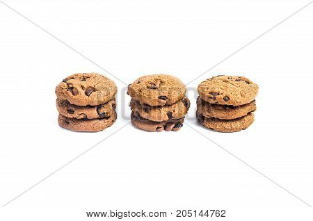 Chocolate Chip Cookies Three Pieces Stacked Three Stack On Isolated White Background