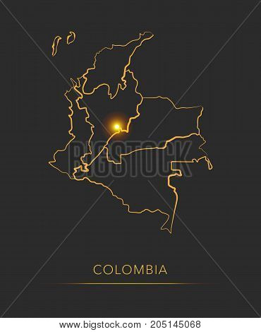 Golden region map, Colombia districts vector background
