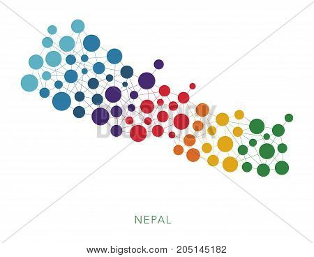 dotted texture Nepal vector rainbow colorful background