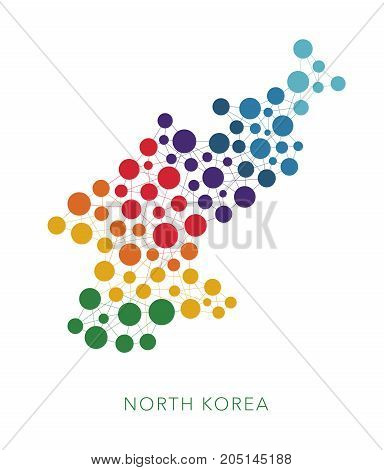 dotted texture North Korea vector rainbow colorful background