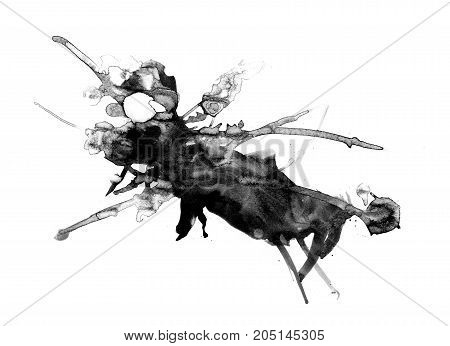 Abstract ink painting, artistic black pattern isolated