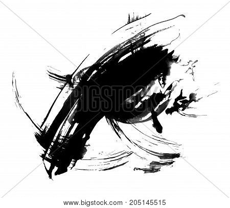 Abstract ink painting, artistic black grunge vetor pattern