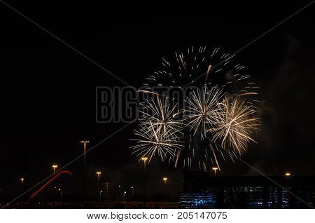 picture of the Color fireworks on black sky background