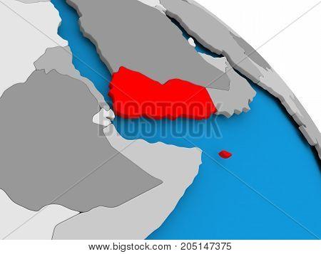 Yemen In Red On Map