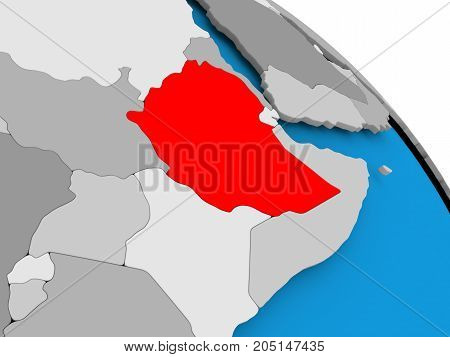 Ethiopia In Red On Map