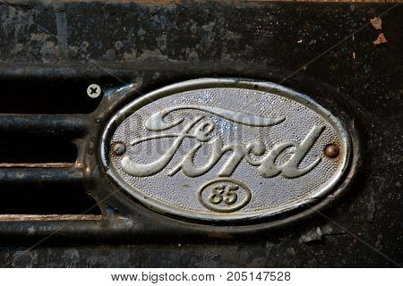 DOWNER, MINNESOTA, September 17, 2017: The Ford  85 truck hood and grill logo is a product of the Ford Motor Company located in Dearborn, Michigan started by Henry Ford and incorporated on June 16, 1903