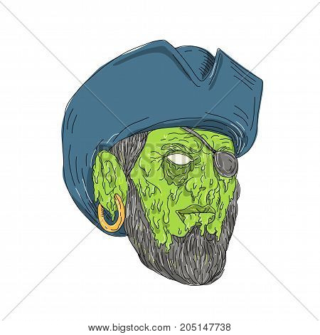 Grime art style illustration of a Buccaneer Pirate privateer wearing a tricorne hat and eye patch on isolated background.