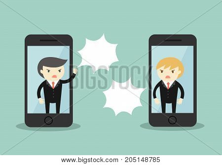 Two businessmen are arguing via smartphone. Vector illustration.