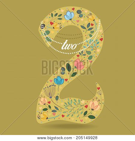 Yellow Number Two with Folk Floral Decor. Colorful watercolor flowers and plants. Small hearts. Graceful pearl necklace with text. Illustration