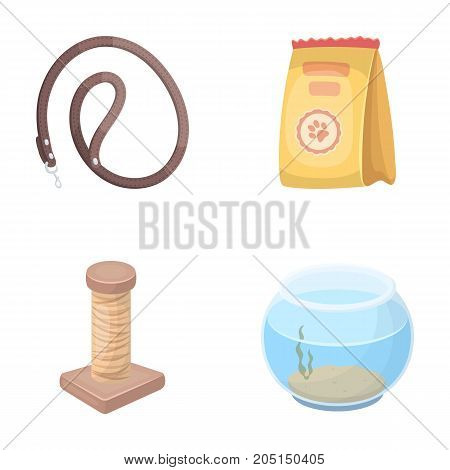 Leash, feed and other zoo store products.Pet shop set collection icons in cartoon style vector symbol stock illustration web.