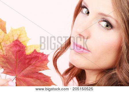 Beauty female autumnal model. Lovely girl long hair with dry fall maple leaves in hand studio shot bright pink background