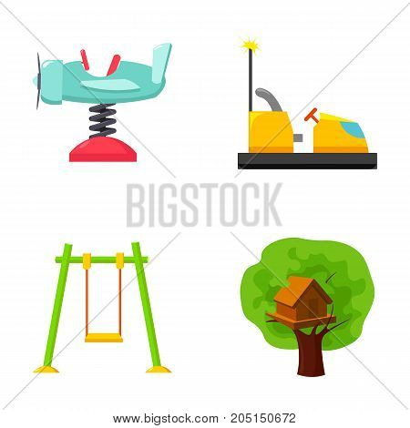 Airplane on a spring, swings and other equipment. Playground set collection icons in cartoon style vector symbol stock illustration .
