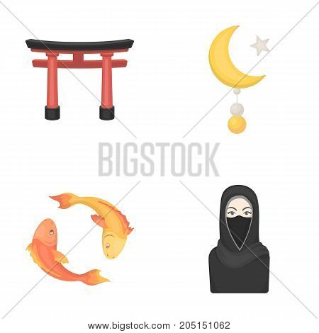 Torii, carp koi, woman in hijab, star and crescent. Religion set collection icons in cartoon style vector symbol stock illustration .
