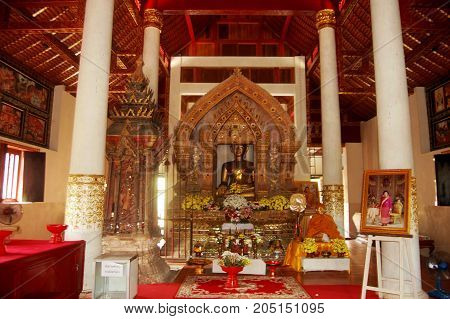 Golden Buddha Statue Of Wat Phaya Wat Temple For People Visit And Pray