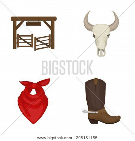 Gates, a bull's skull, a scarf around his neck, boots with spurs. Rodeo set collection icons in cartoon style vector symbol stock illustration .