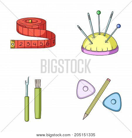 Measuring tape, needles, crayons and pencil.Sewing or tailoring tools set collection icons in cartoon style vector symbol stock illustration .