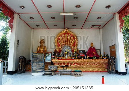 Queen Jamadevi Monument At Wat Phaya Wat Temple For People Visit And Pray