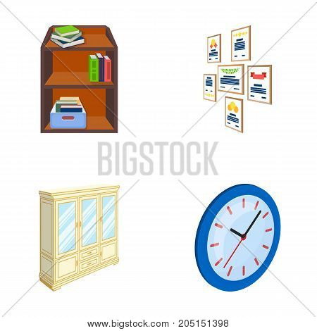 Cabinet, shelving with books and documents, frames on the wall, round clocks. Office interior set collection icons in cartoon style isometric vector symbol stock illustration .