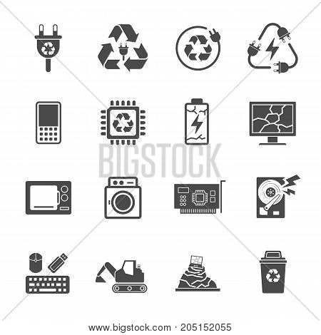 Recycling E-waste Garbage, Contains Such Icons As Electronic Waste, Monitor, Phone, Battery And More