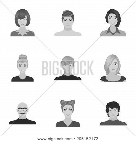 Appearance of the girl in glasses, a guy with a hairdo, a bald man with a beard and other varieties of face. Faces and appearance set collection icons in monochrome style vector symbol stock illustration .