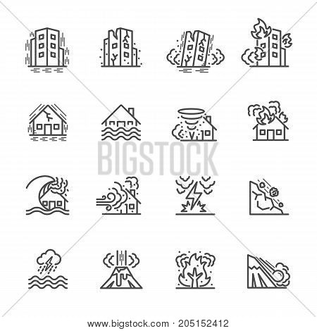 Natural Disaster, Vector Illustration Of Thin Line Icons For Natural Disaster Contains Such Icons As