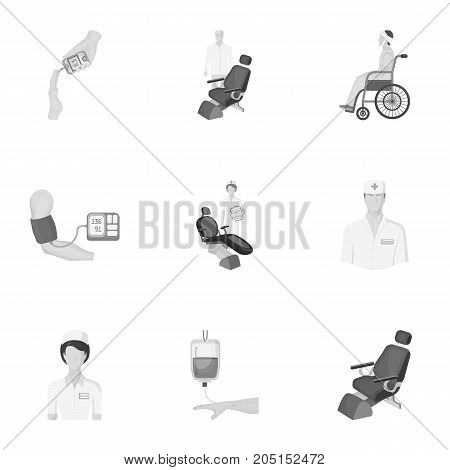 Injured in a stroller, blood transfusion, blood sugar test, doctor, medical staff. Medicine set collection icons in monochrome style vector symbol stock illustration .