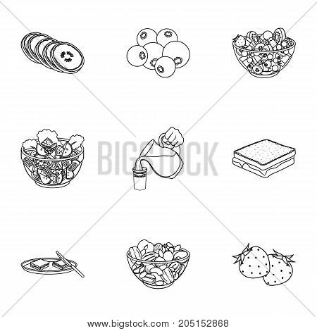 Fruit, dessert, sandwiches and other types of food. Food set collection icons in outline style vector symbol stock illustration .