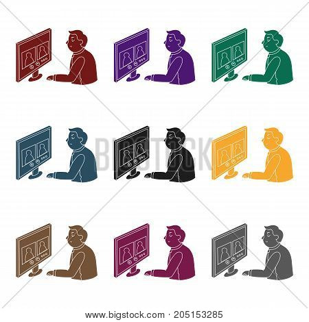 Video conference icon in black design isolated on white background. Conference and negetiations symbol stock vector illustration.