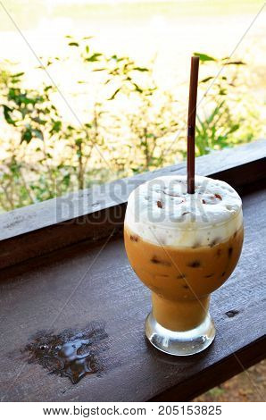 Latte Ice Coffee In Coffeeshop