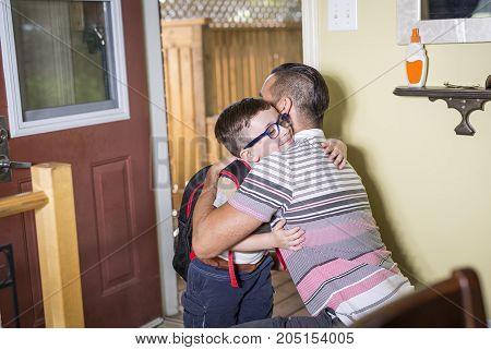 A Cute 6 year old Caucasian boy inside home preschool