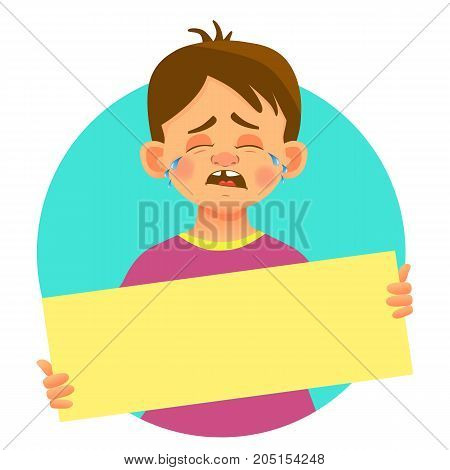 Crying boy holding blank poster. Blank message vector illustration. Hands holding blank paper