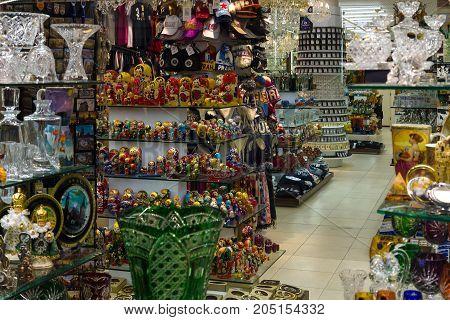 PRAGUE CZECH REPUBLIC - FEBRUARY 02 2014: Souvenir shop in the center of Prague. Prague is the capital and largest city of the Czech Republic.